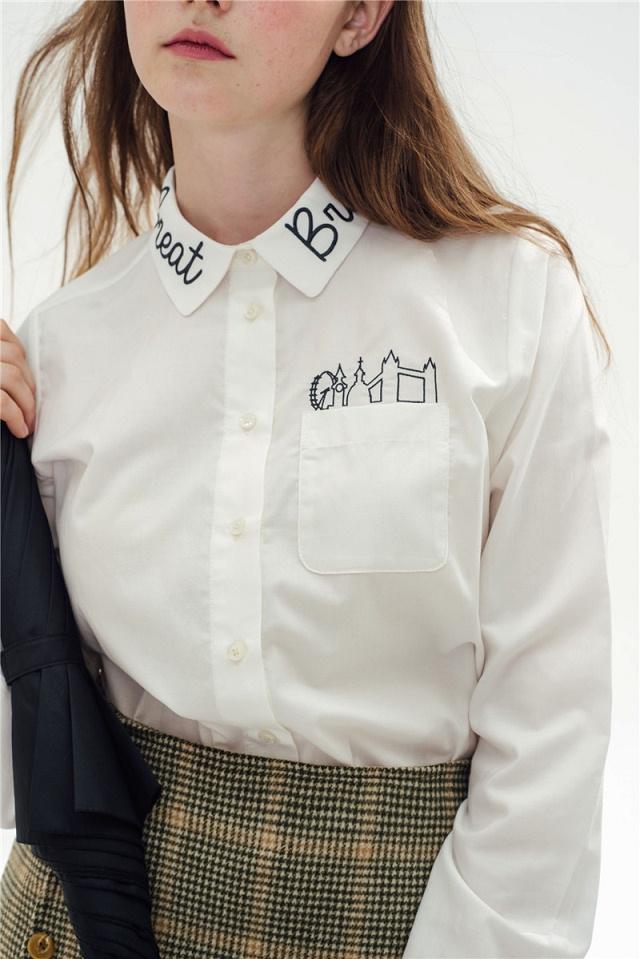 Women fashion elegant school style white cotton Letter ...