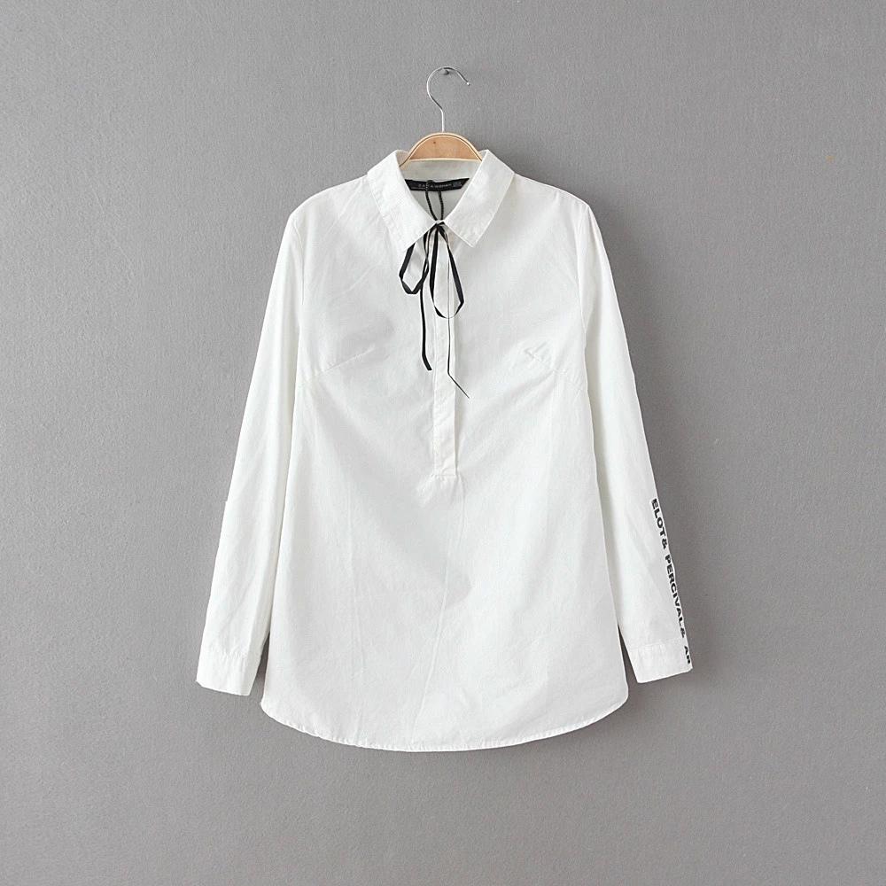 Women fashion elegant White blouses Bow turn down collar ...