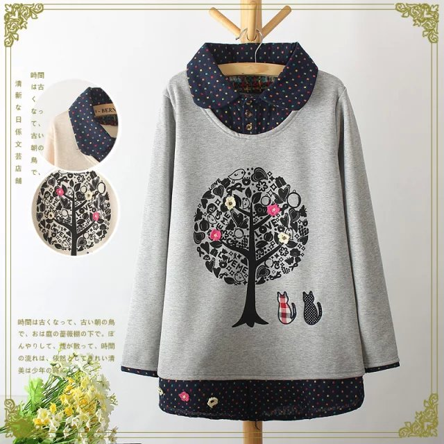 Women fashion elegant winter thick Tree print Cat Embroidery ...