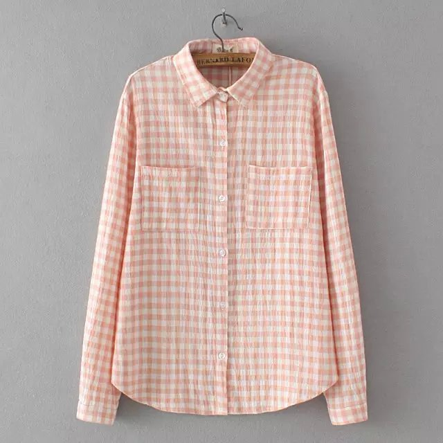 Women Fashion Pink plaid print blouses turn- down collar ...
