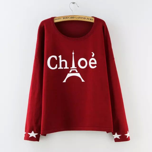 Women Fashion red Letter tower pattern Pullover knitwear ...