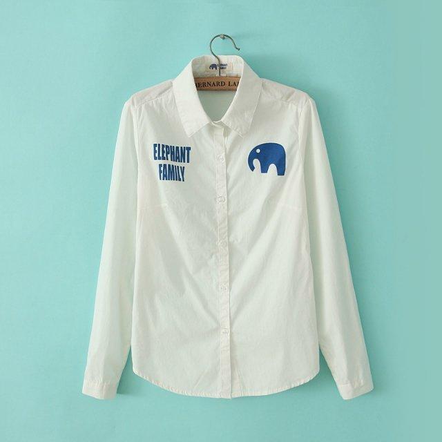 Women fashion Spring elegant letter elephant print white ...