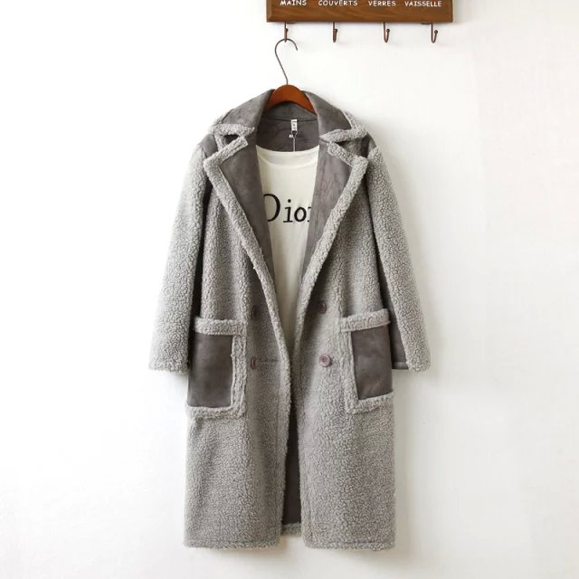 Women fashion winter Thicken Warm Jacket Faux Fur gray ...