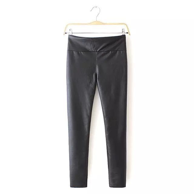 Women Faux Leather pants Fashion Stretch high waist ...