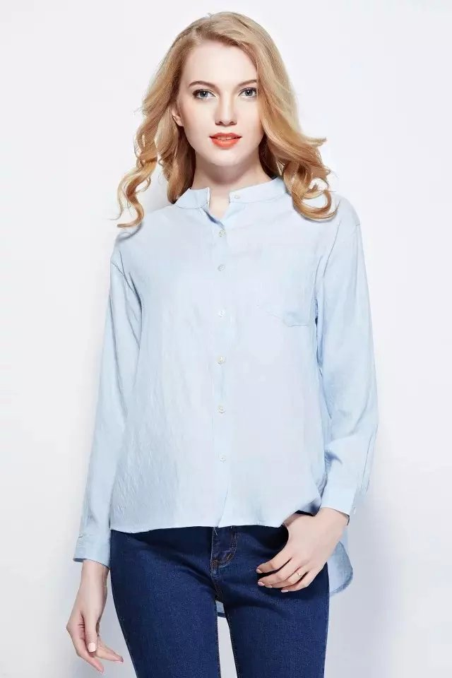 Women feminine blouse Fashion blue cotton Stand collar ...