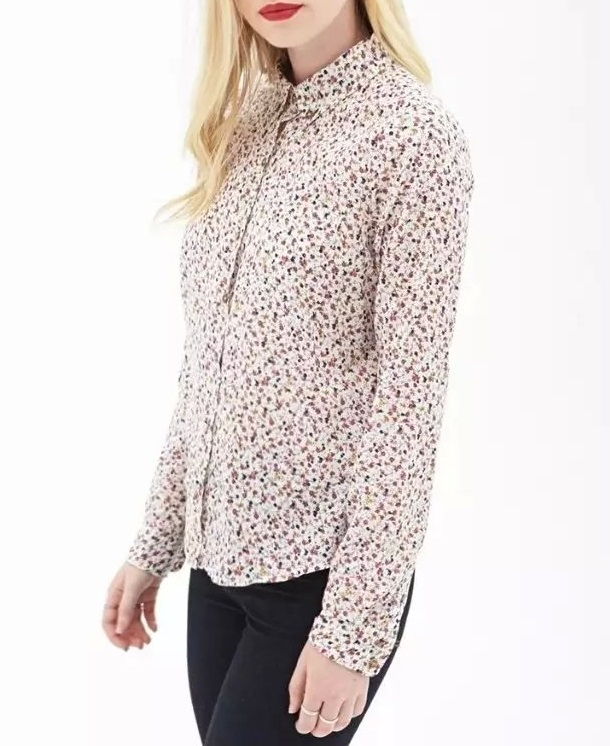 Women Floral Blouse Fashion Office style Pocket Turn ...