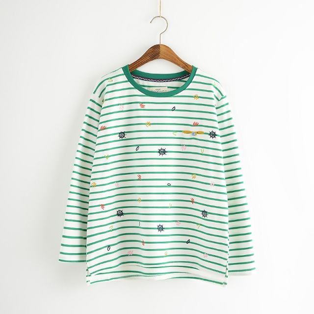 Women Green Striped print T-shirts fashion Embroidery ...