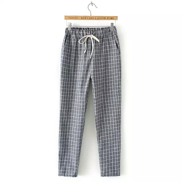 Women Harem Pants Fashion Streetwear gray Plaid print ...