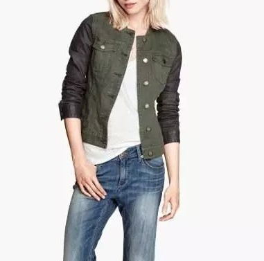 Women jackets Spring Fashion Army Green Patchwork Double ...