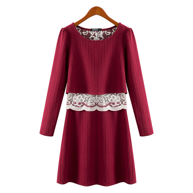 Women knitted Fashion Red long Sleeve Lace O Neck Back ...
