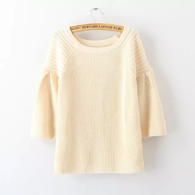 Women knitted Sweater Autumn Fashion Red O-Neck Pullover ...