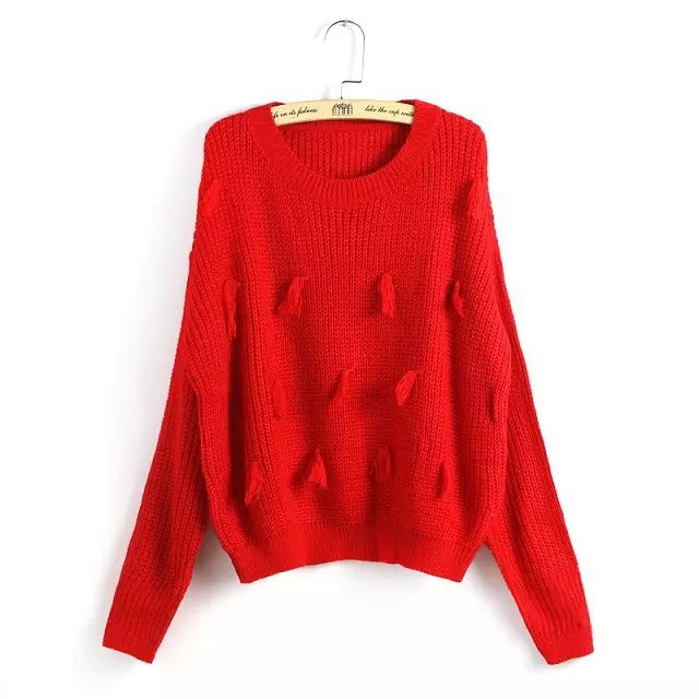 Women Knitting sweaters Autumn Fashion Elegant Red white ...