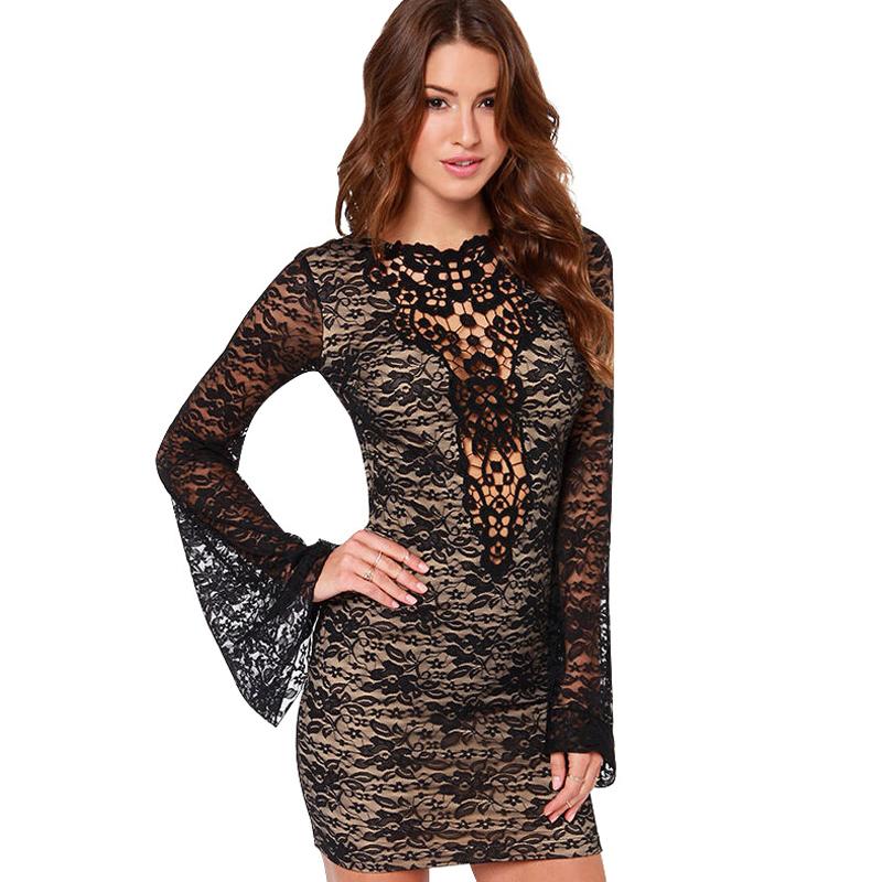 Women lace mini Dress Fashion Black sexy hollow out ...