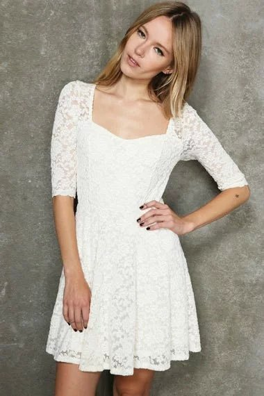 Women Latest Summer Fashion White Half Sleeve With Hollow ...