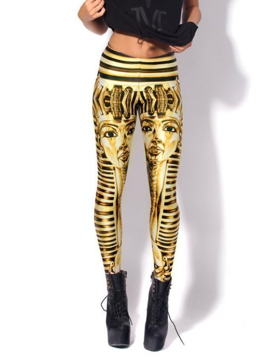Women Leggings Fashion Autumn vintage Gold striped head ...