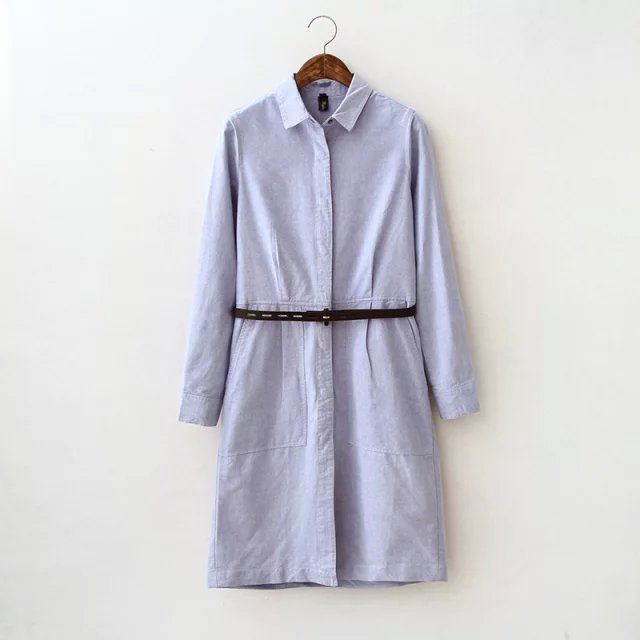 Women Long Shirt Dress Fashion Denim with belt Long ...