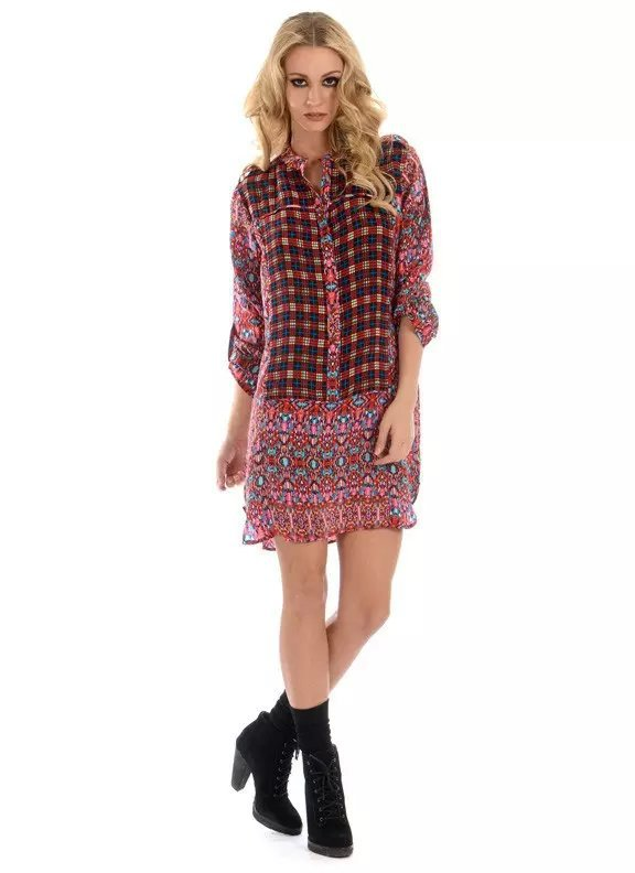 Women Long Shirt Dress Fashion Floral print Red plaid ...
