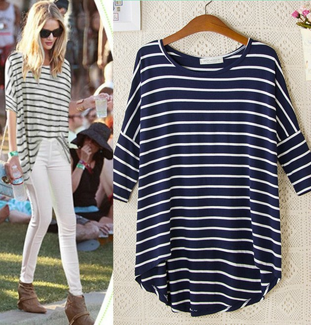 Women long T-shirts Fashion Striped Print O Neck Three ...