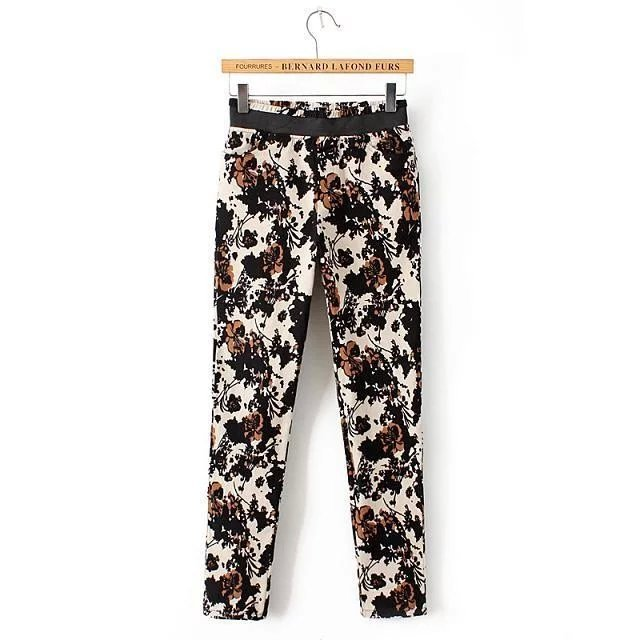 Women Pants Fashion American Ink Print elastic waist ...