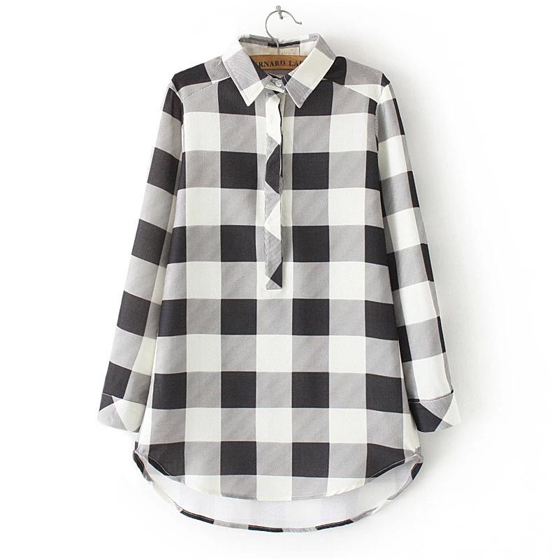 Women School Style Fashion plaid print blouses turn ...