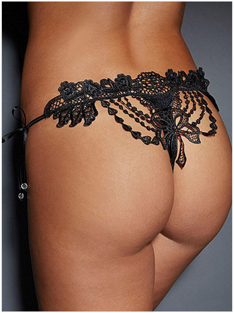 Women Sexy black lace Hollow out Bow Underwear Girls ...