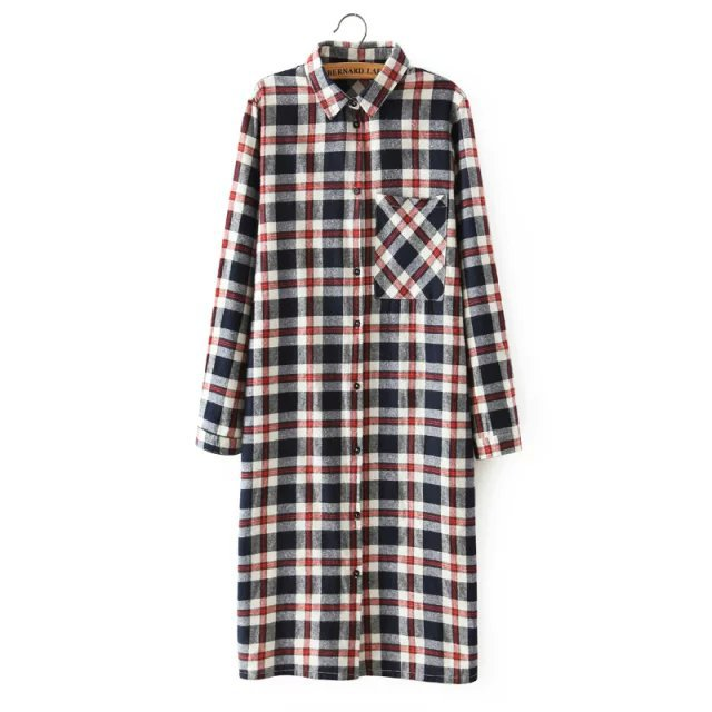 Women Shirt Dress Fashion Autumn Cotton Plaid Print ...