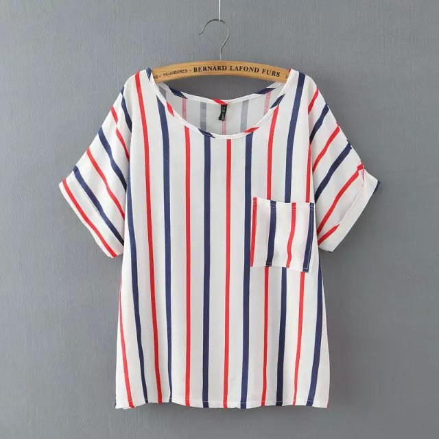 Women short sleeve T-shirts Fashion Vertical striped ...