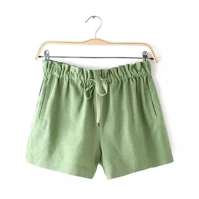 Women shorts Summer Fashion cotton linen Elastic waist ...
