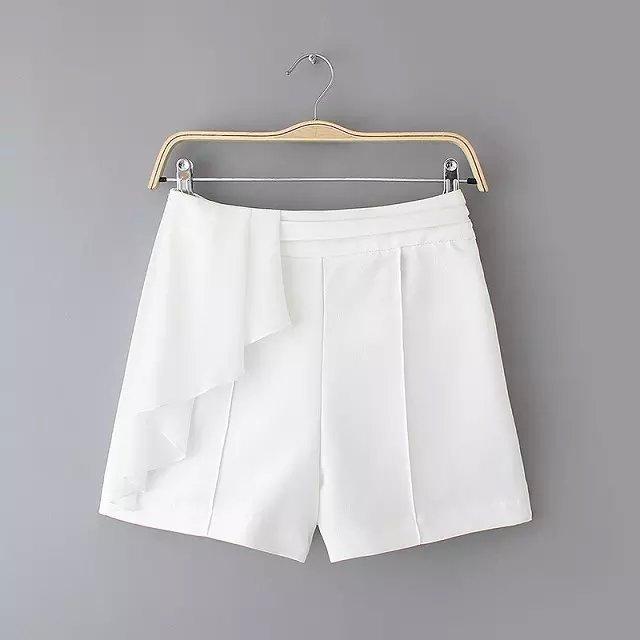 Women shorts Summer Fashion Side Ruffle Back zippe waist ...