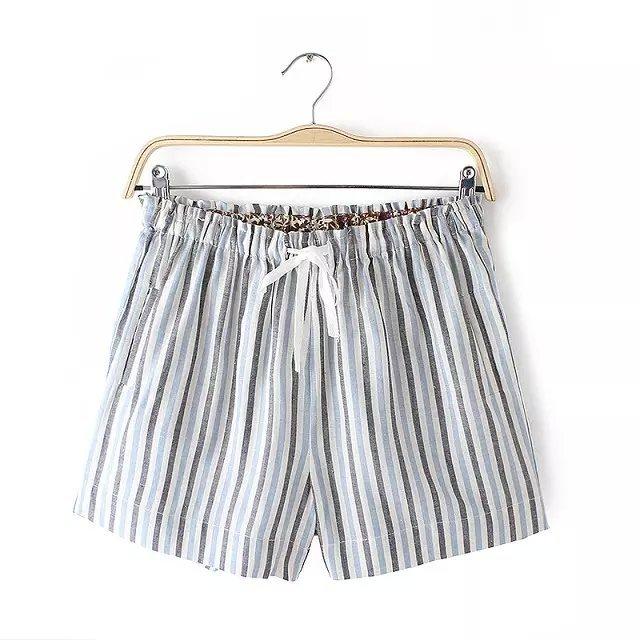 Women shorts Summer Fashion Striped Print cotton linen ...