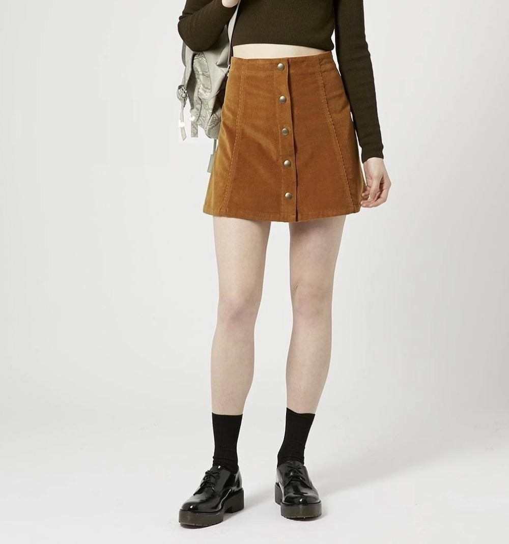 Women skirt Fashion American apparel Suede leather brown ...