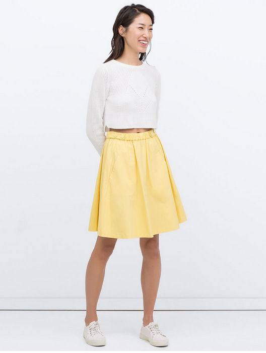 Women skirt Fashion elastic waist Pocket midi White ...