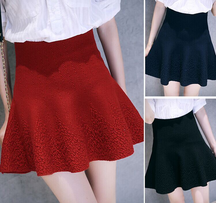 Women skirts Fashion Knitted 3D Print Stretch high waist ...
