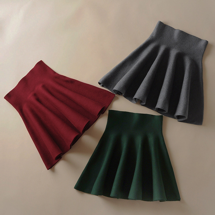 Women skirts Fashion Knitting high waist school short ...