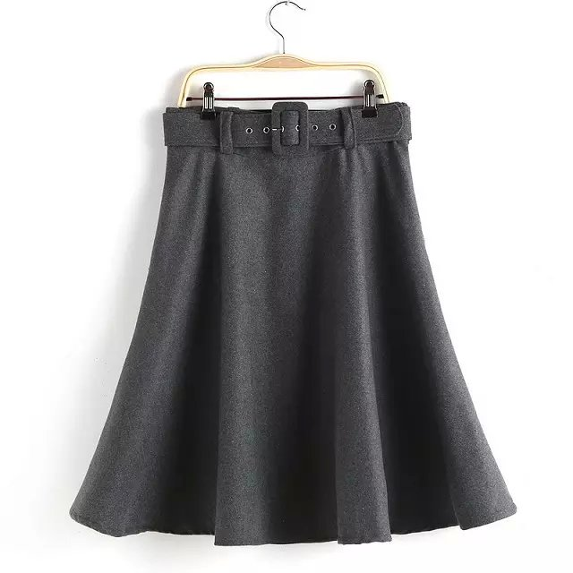 Women skirts Fashion Woolen high waist With Belt short ...