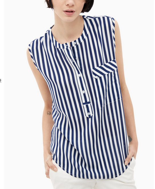 Women Sleeveless Blouse Fashion blue striped print O ...