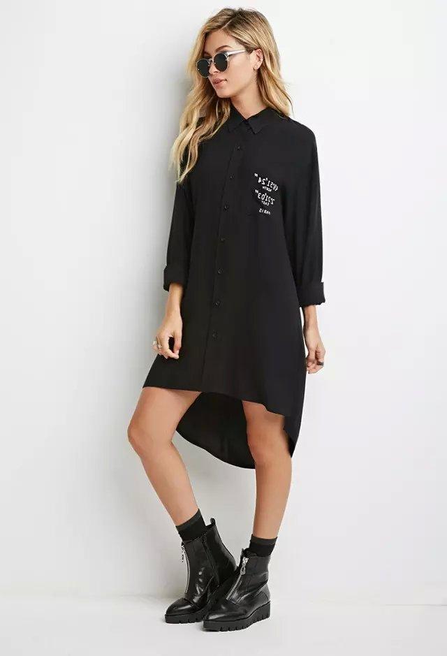 Women Spring Fashion black Letter print pocket long ...