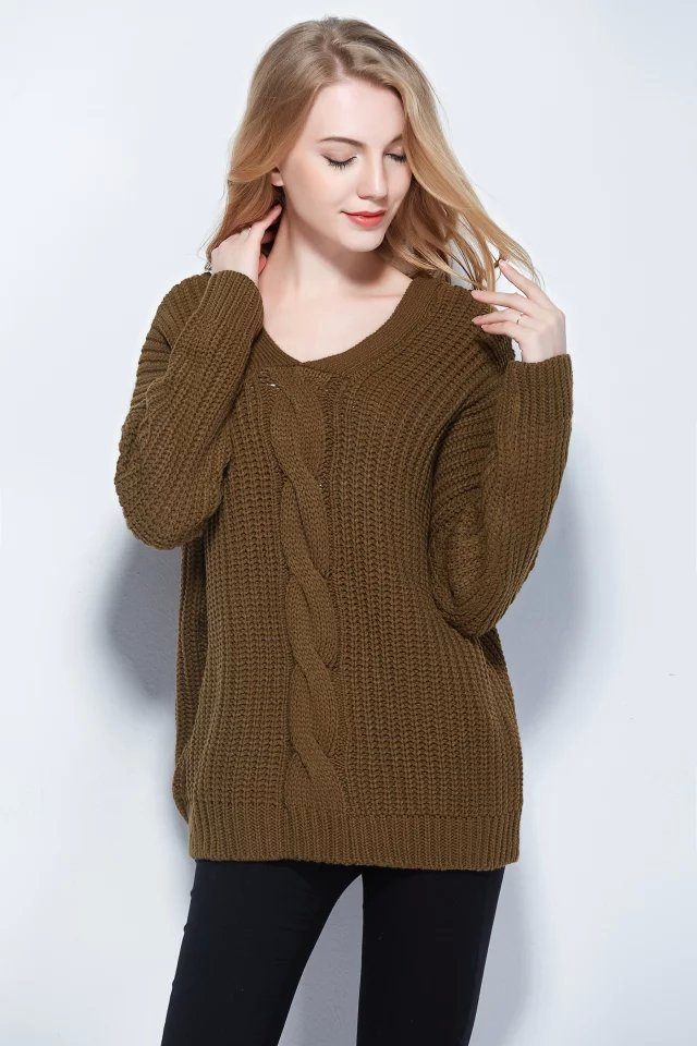 Women sweaters Autumn Fashion Twist Army green Pullover ...