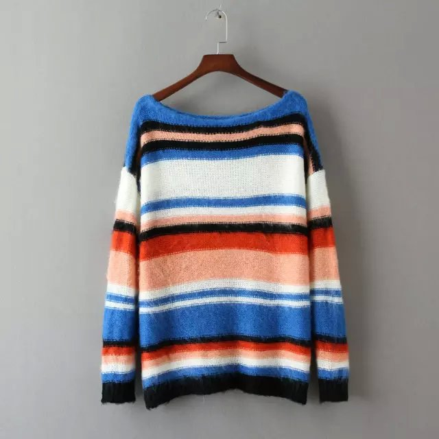 Women sweaters Winter Fashion color striped pattern ...