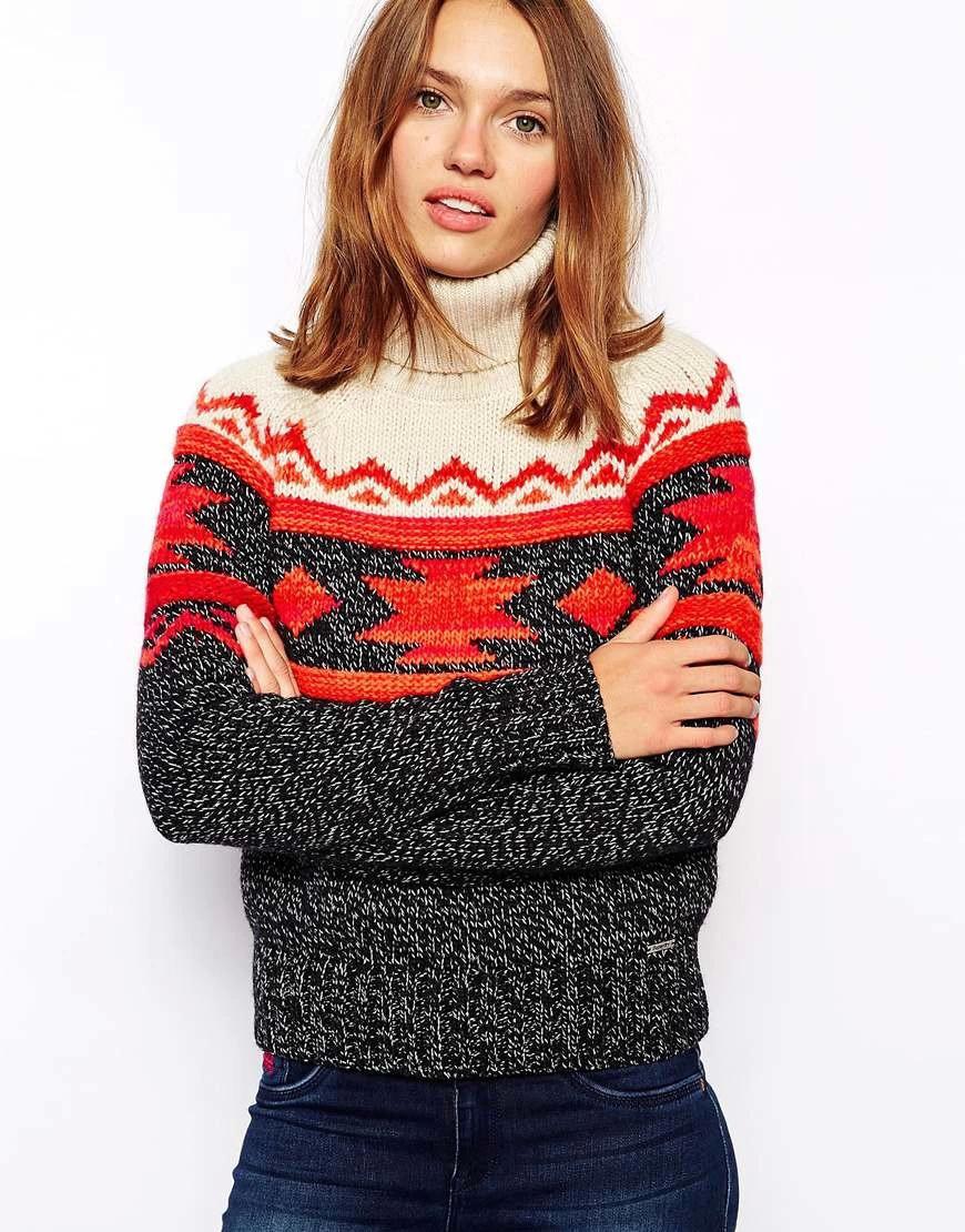 Women sweaters Winter Thick warm Fashion Geometric Pattern ...