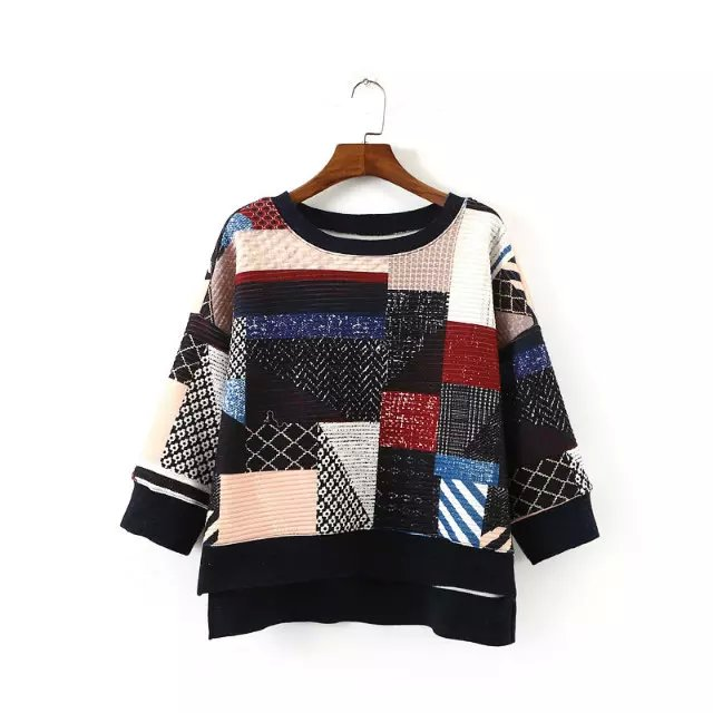Women sweatshirt Fashion Cotton Color Matching Geometric ...