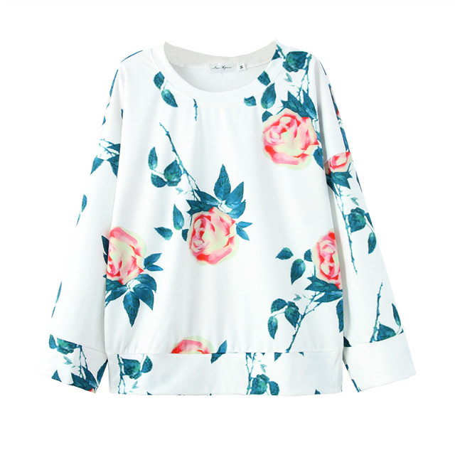 Women sweatshirt Fashion Rose print white Pullover Three ...