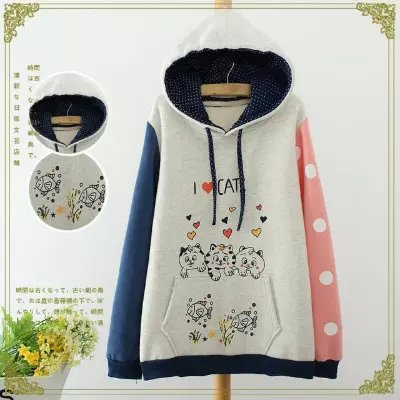 Women sweatshirt Fashion winter thick cotton heart Cat ...