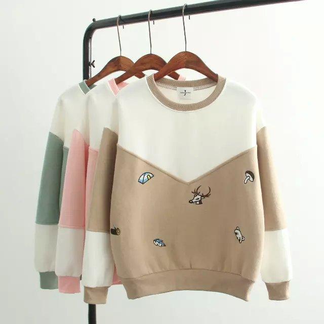 Women sweatshirt Fashion winter Thick cute Cartoon deer ...