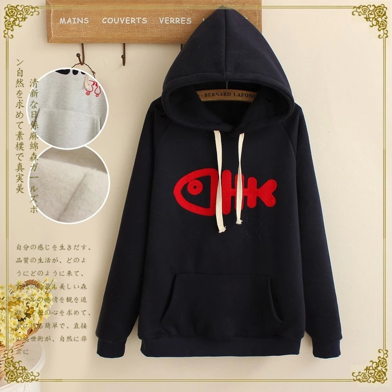 Women sweatshirt Fashion winter thick warm Black fish ...