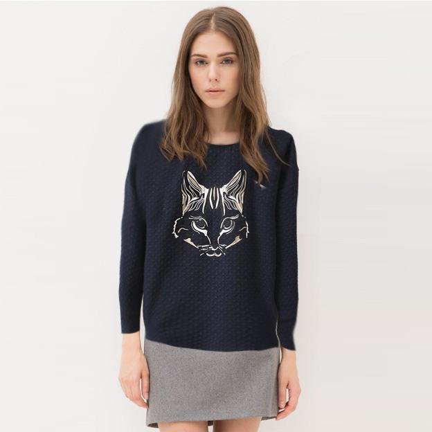 Women Sweatshirts Autumn Fashion black Cat Embroidery ...