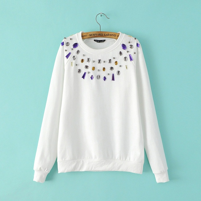Women Sweatshirts Autumn Fashion Brief Beading white ...