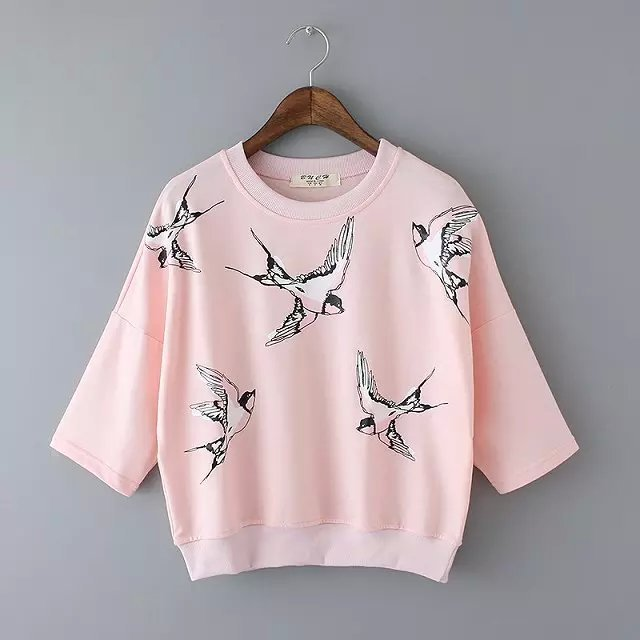 Women Sweatshirts Autumn Fashion Brief Bird Print Gray ...