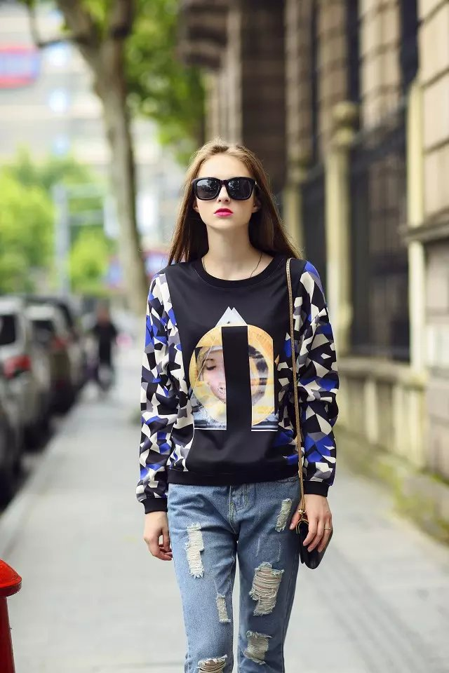 Women Sweatshirts Autumn Fashion Brief Geometric Print Pullover knitwear O neck long sleeve Casual knitted brand tops