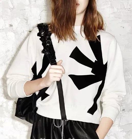 Women Sweatshirts Autumn Fashion flocking Floral pattern ...
